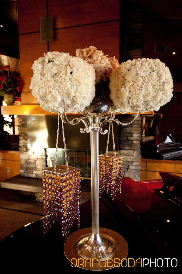 Gorgeous floral and crystal centerpiece